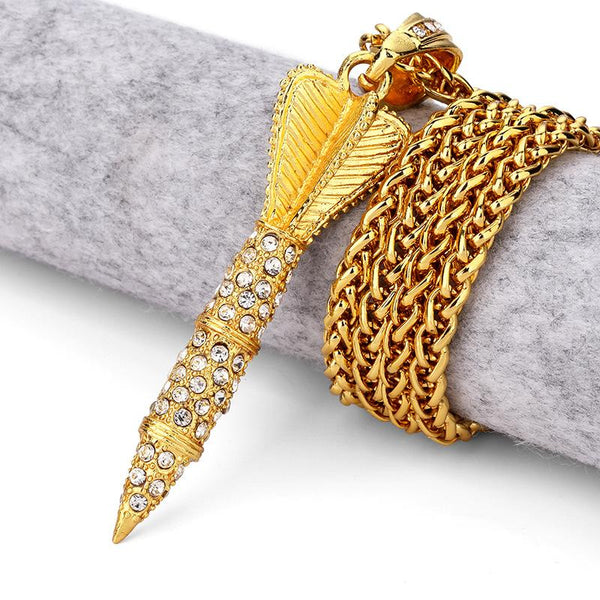 Iced Out 18K Gold Rocket Pendant