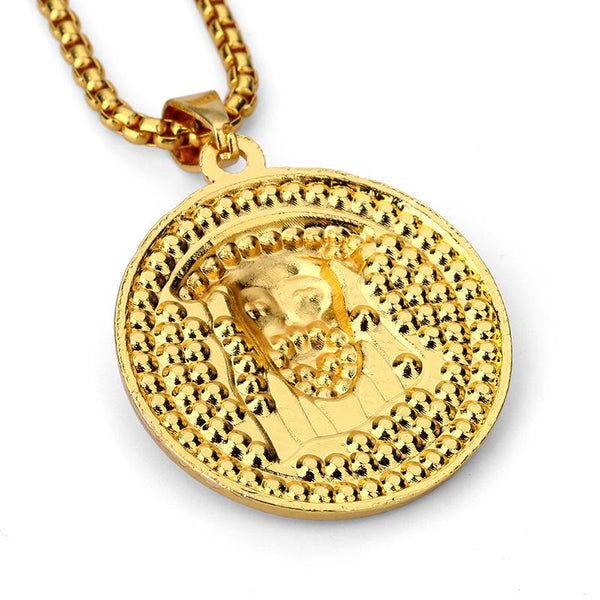Fully Iced Out 18K Gold Jesus Piece Medallion Pendant