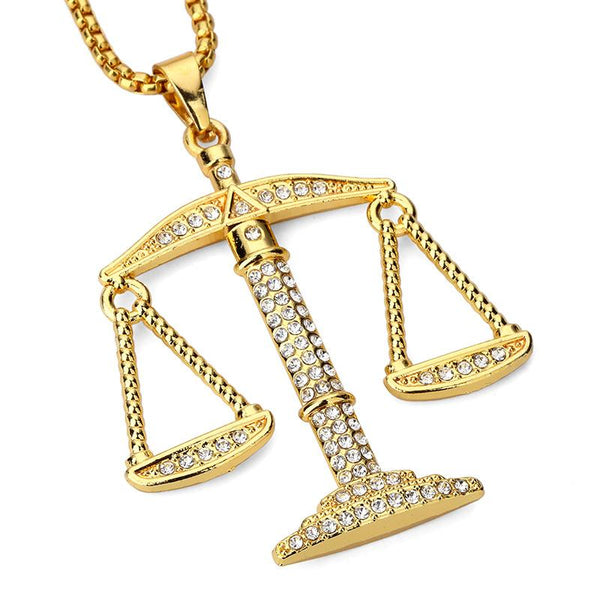 Iced Out 18K Gold Scale Pendant