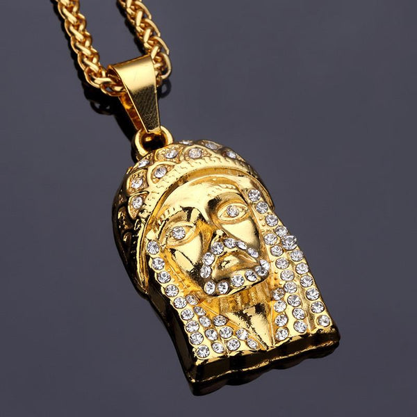Mini Iced Out Christ 18K Gold/Silver Jesus Piece Pendant