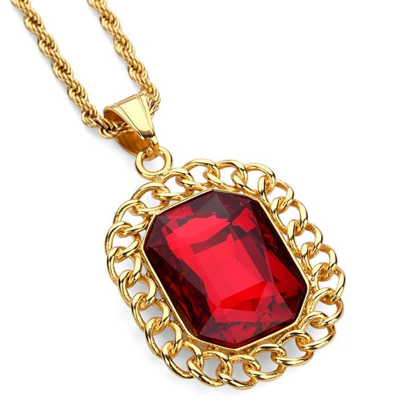 18K Gold Cuban Link Ruby Pendant