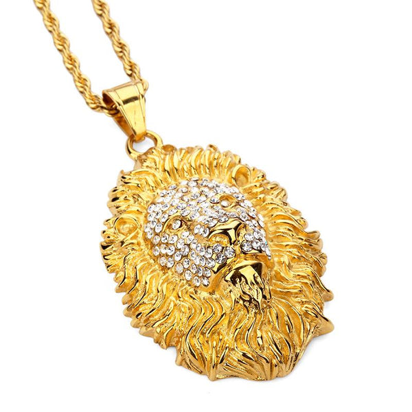 Iced Out 18K Gold Lion Head Pendant