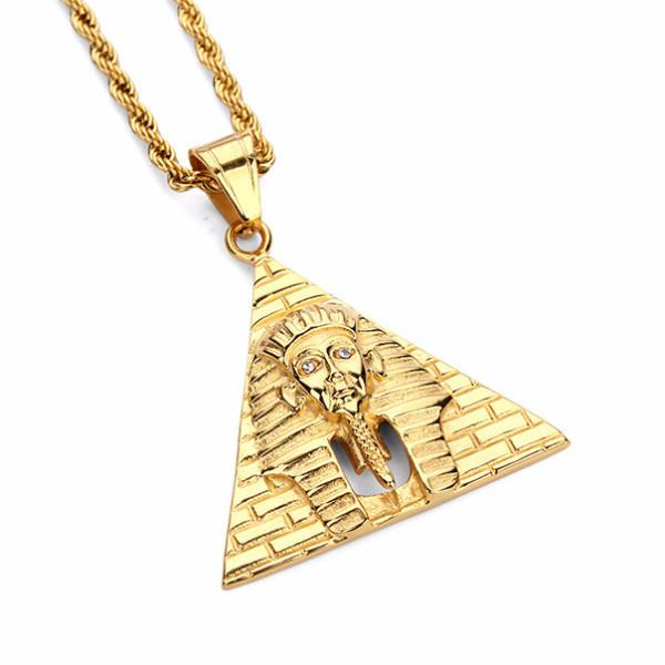 18K Gold Pharaoh Pyramid Pendant