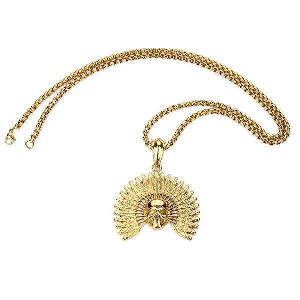 18K Gold Indian Skull Pendant