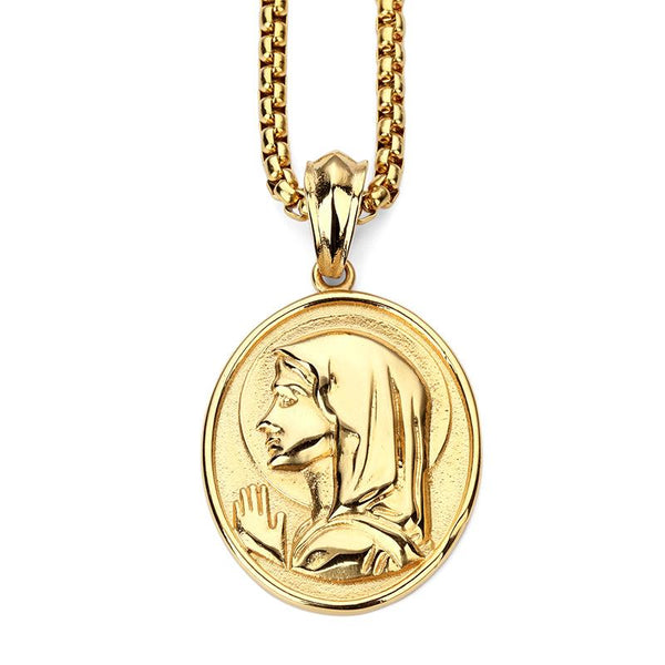 18K Gold Virgin Mary Medallion Pendant