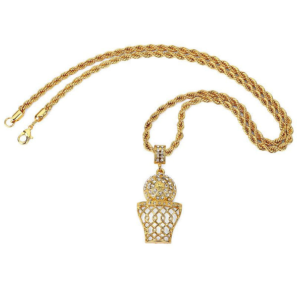 Iced Out 18K Gold Basketball Pendant