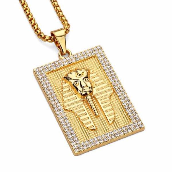 Iced Out 18K Gold Pharaoh Tag Pendant