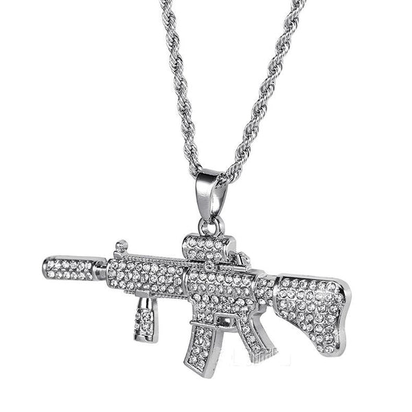 Iced Out 18K Gold/Silver M4 Pendant