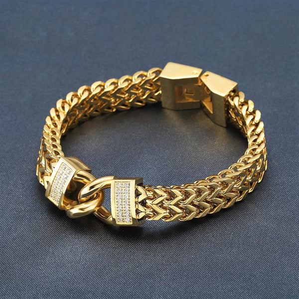 CZ 18K Gold Stainless Steel Double Foxtail Link Bracelet