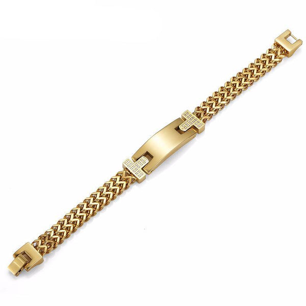 CZ 18K Gold Stainless Steel Double Foxtail Bar Bracelet