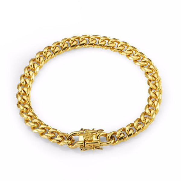8mm 18K Gold Cuban Stainless Steel Bracelet with Butterfly Buckle