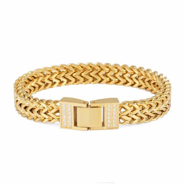 CZ 18K Gold Stainless Steel Double Foxtail Bracelet