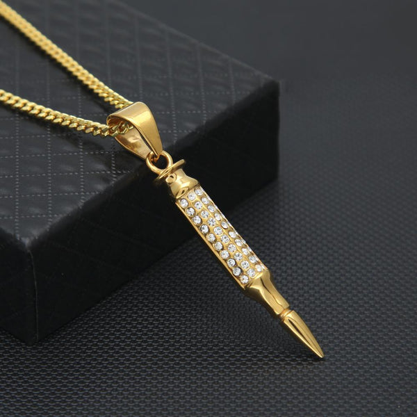 Iced Out 18K Gold Bullet Pendant