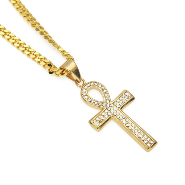 Iced Out 18K Gold Ankh Cross Pendant