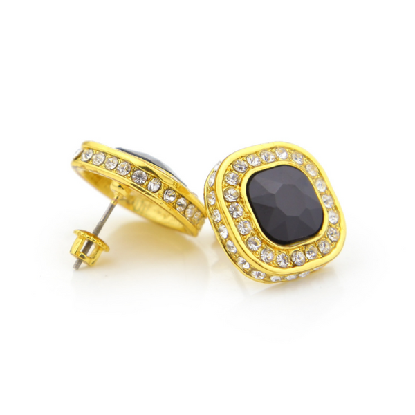 Iced Out 18K Gold Ruby/Sapphire/Emerald/Black Stone Royal Earrings