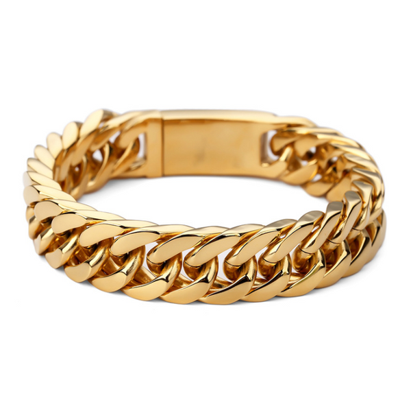 18K Gold Stacked Curb Bracelet