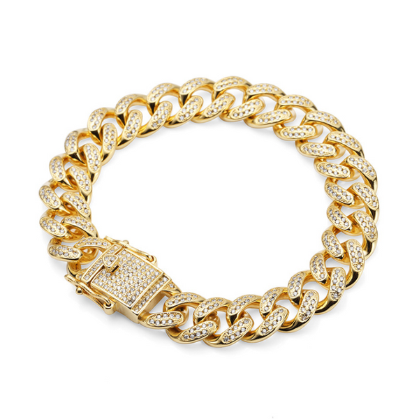 Fully Iced Out 18K CZ Gold/Silver Cuban Link Bracelet