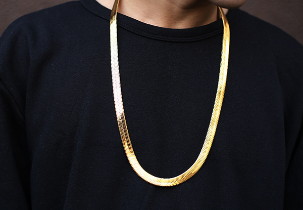 [A$AP ROCKY inspired] 10mm 18K Gold/Silver Herringbone Chain