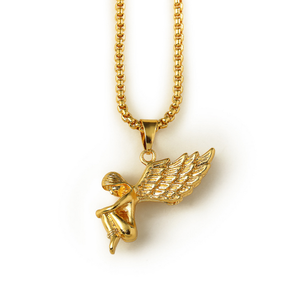 Mini 18K Gold Woman Angel Pendant