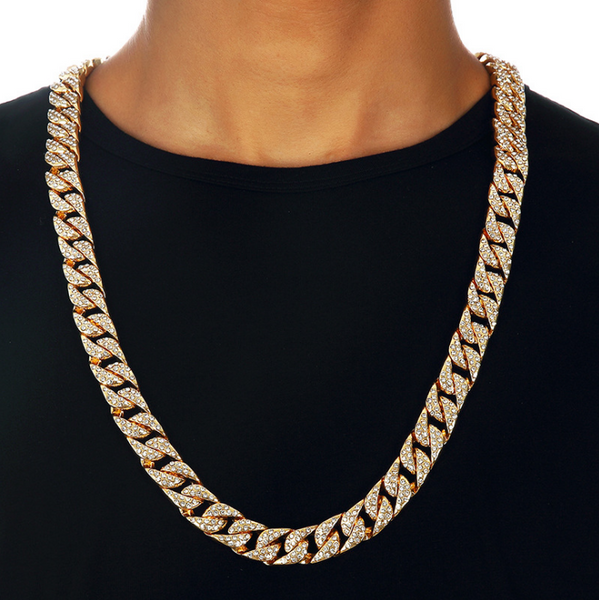 Iced Out 14mm 18K Gold Cuban Link Chain [1st variation]