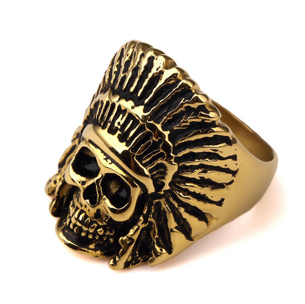 18K Gold Indian Chief Skull Ring