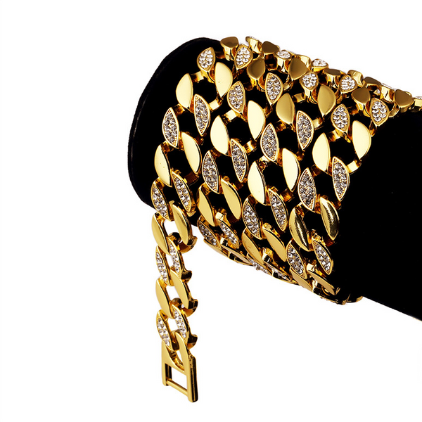 Iced Out 14mm 18K Gold Cuban Link Bracelet [2nd variation]
