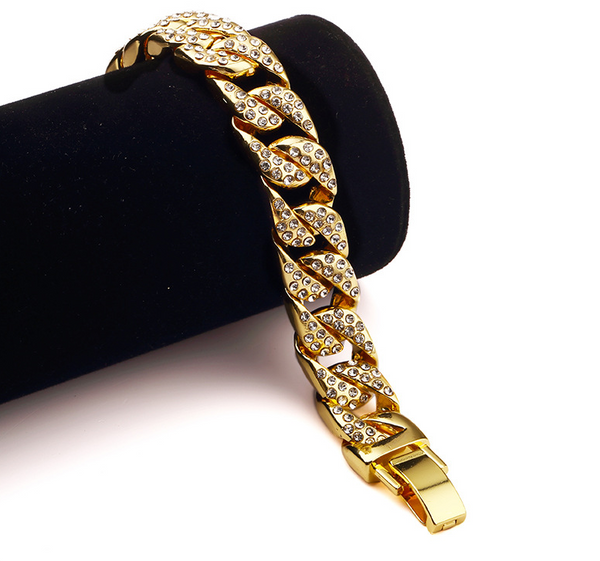 Iced Out 14mm 18K Gold Cuban Link Bracelet [1st variation]