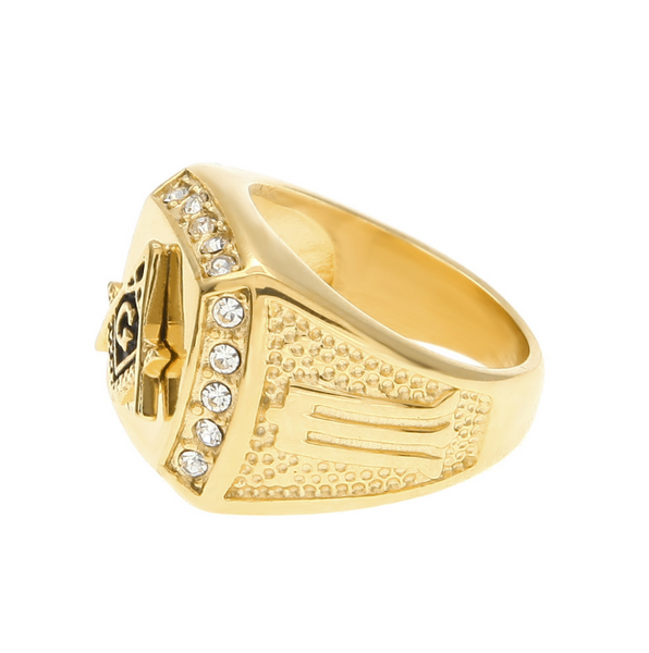 Iced Out 18K Gold Freemason Ring