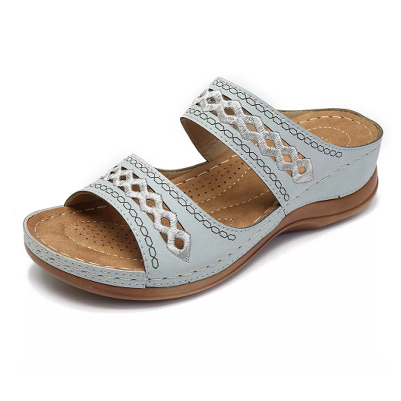 Zig Zag Stitch Wedge Sandal