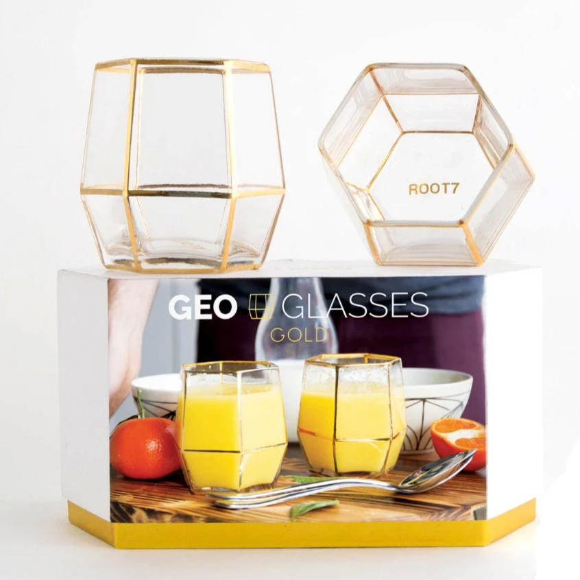 Gift Glass Tumblers in Gold (2 Pack)