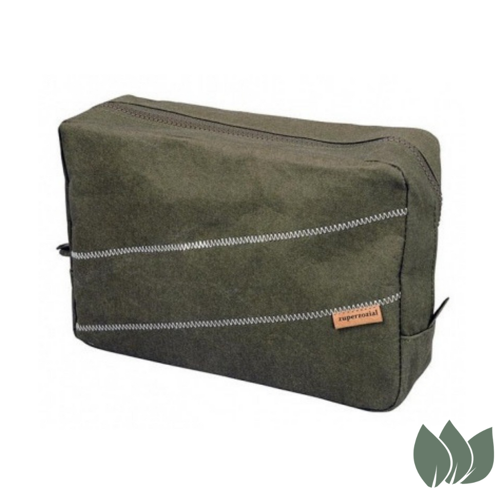 Eco-Friendly Bamboo Toiletry Bag in Green