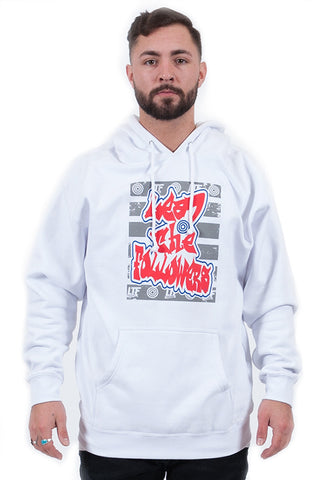 Graffiti Hoodie in White/Red/Blue
