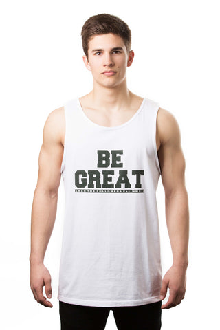 Be Great Tank in White/Forrest