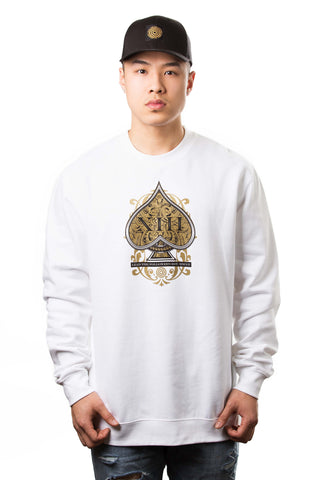 Origins Crewneck in White/Gold