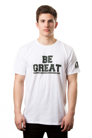 Be Great Tee in White/Forrest