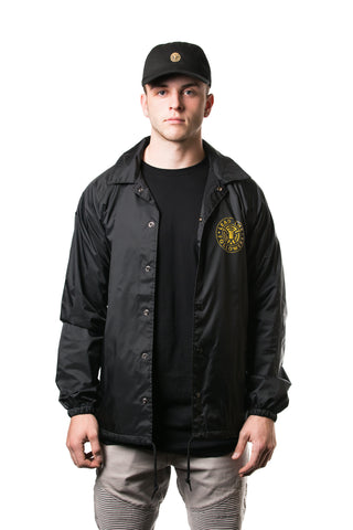 King of the Jungle Coaches Jacket in Black/Gold