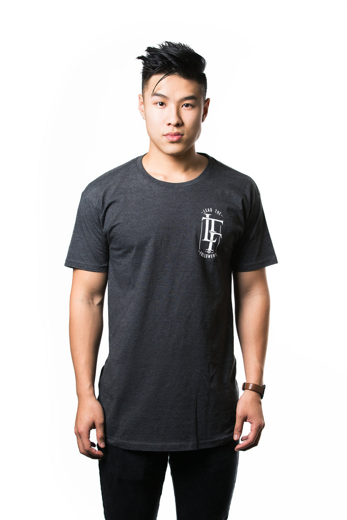 Chain Effect Long Tee in Charcoal