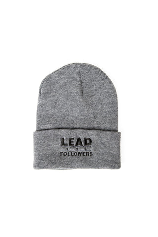 Lead The Followers/Hustlers Only Double-Sided beanie in Charcoal/Black