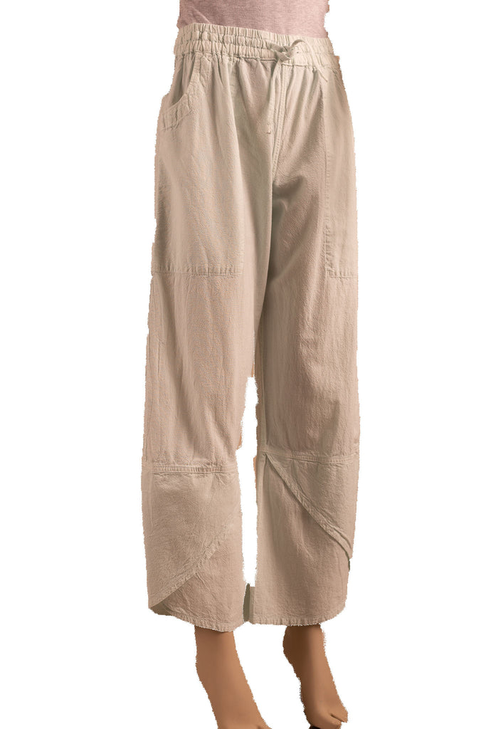 "Crossover ""tulip"" style hem cotton comfortable pants, elastic waist with drawstring,  deep side pockets, light green color"