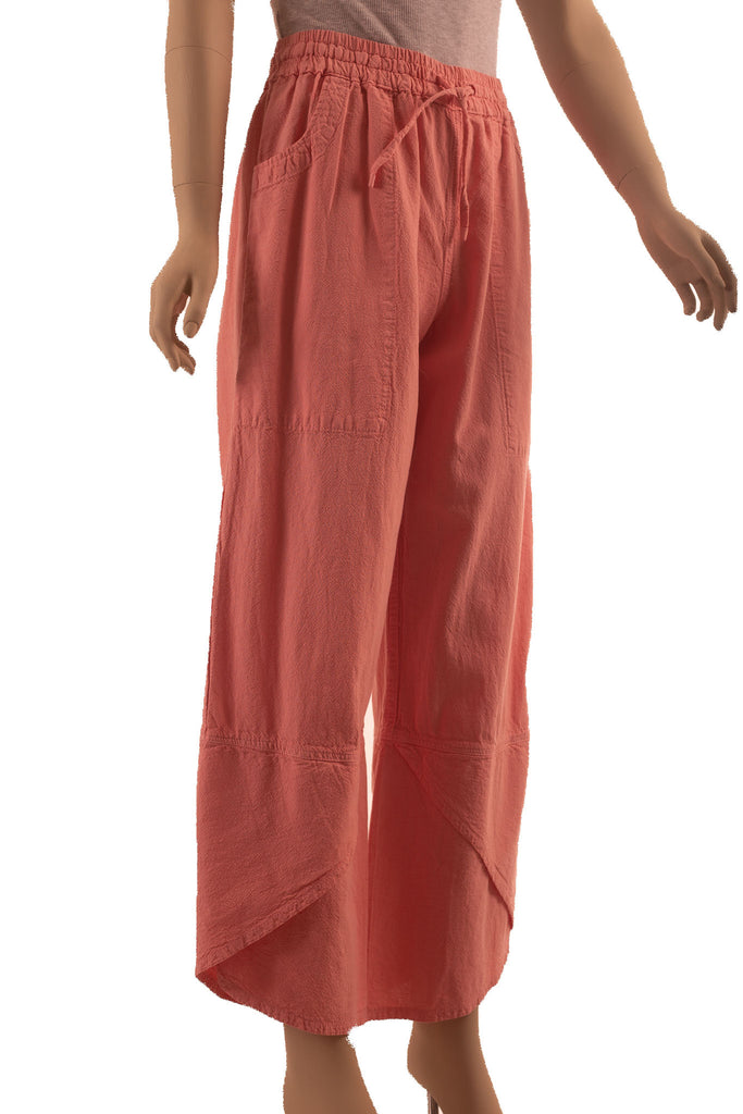 "Crossover ""tulip"" style hem cotton comfortable pants, elastic waist with drawstring,  deep side pockets, coral color"