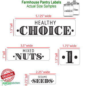 NEW! MEGA Farmhouse Pantry Label Set, 154 Black Labels
