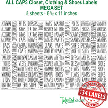 Load image into Gallery viewer, All Caps Closet & Shoe Label Set, 134 Black Labels