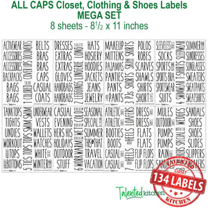 All Caps Closet & Shoe Label Set, 134 Black Labels