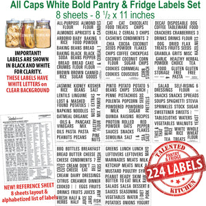 All Caps Bold Pantry & Fridge Labels, 224 White Labels