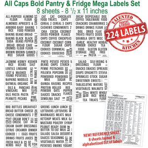All Caps Bold Pantry & Fridge Labels, 224 Black Labels