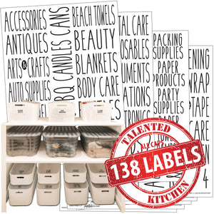 All Caps Household & Storage Label Set, 138 Black Labels