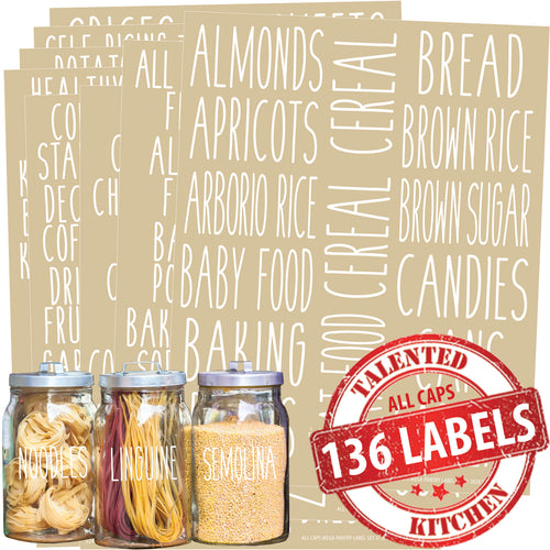 All Caps Mega Pantry Labels, 136 White Labels