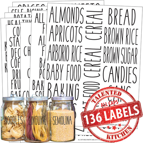 All Caps Mega Pantry Labels, 136 Black Labels