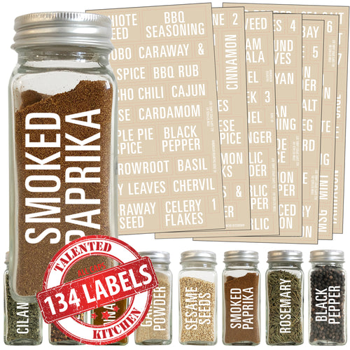 All Caps Spice Label Set, 134 White Labels