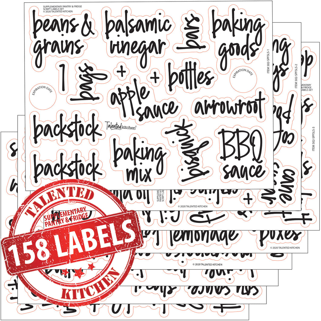 158 Supplementary Pantry & Fridge Label Set, Script Black Labels
